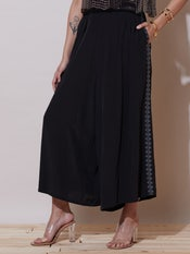 Black Embroidered Palazzos