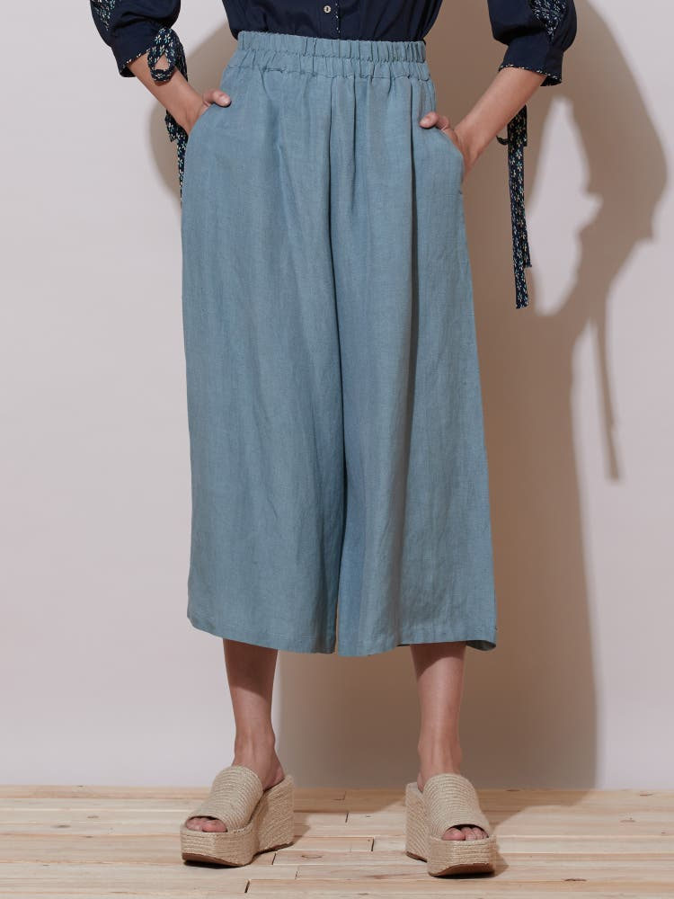 Light Denim Solid Palazzos