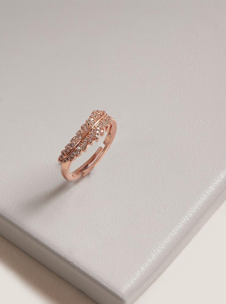 Rose Gold Cubic Zirconia Leaf Ring