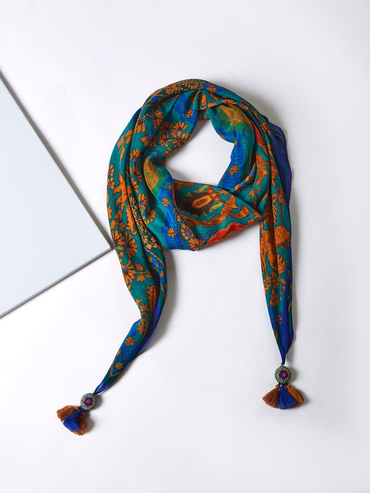 Blue Printed Square Scarf