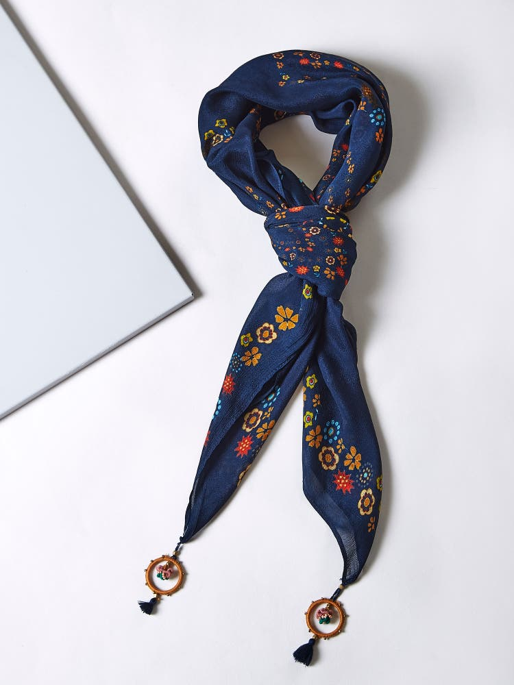 Navy Blue Floral Print Scarf