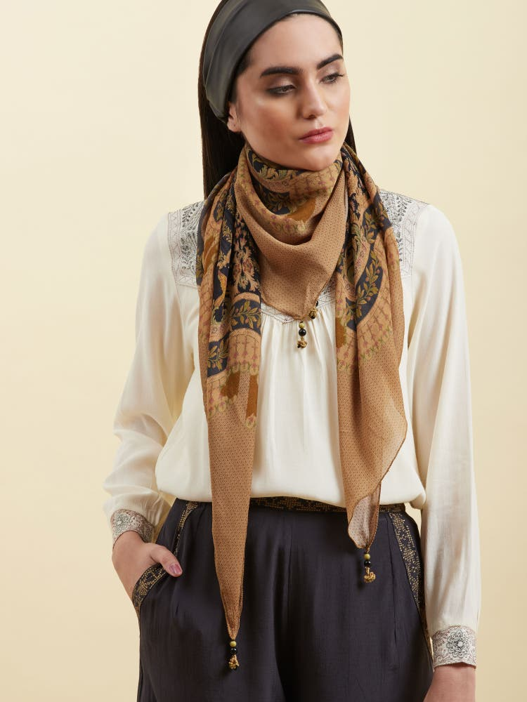 Golden Printed Scarf