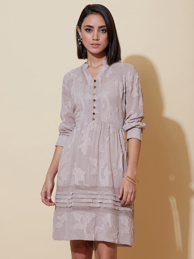 Grey Jacquard Short Dress
