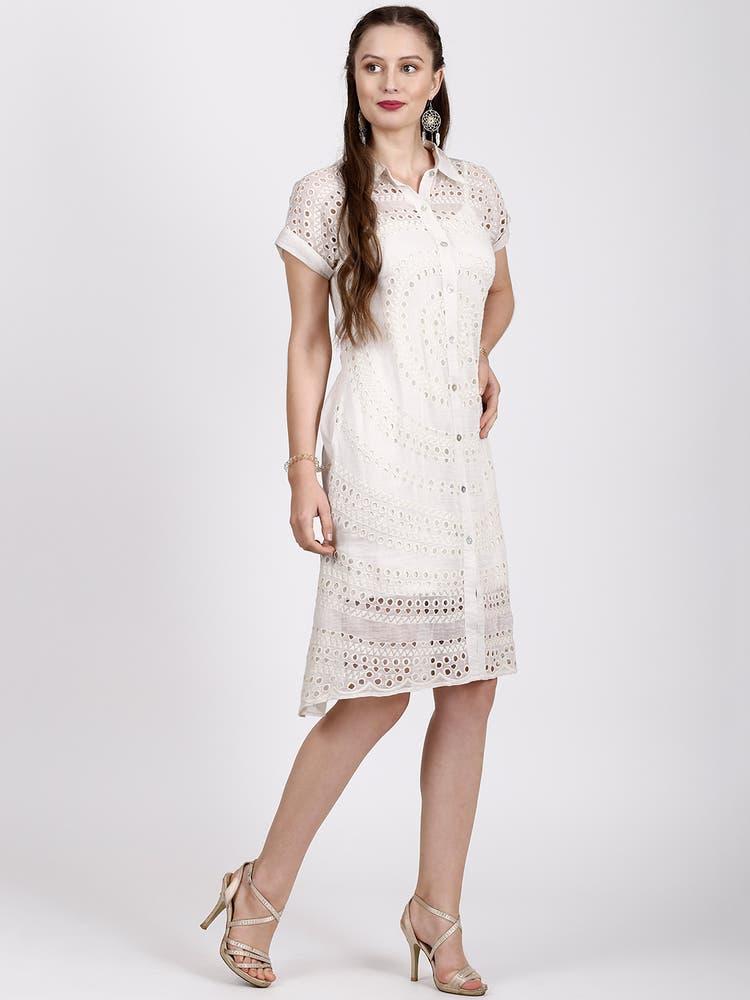 Ecru Self Pattern Shirt Dress