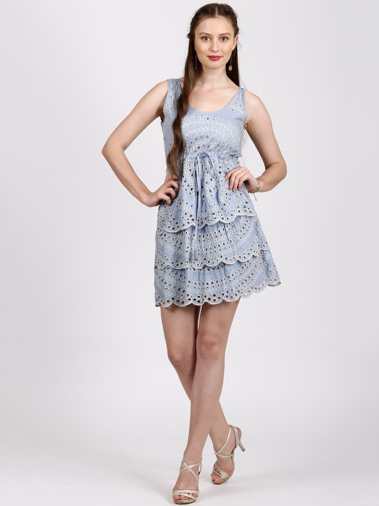Sky Blue & Ecru Self Pattern Tiered Dress