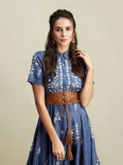 Blue Embroidered Tencel Denim Dress
