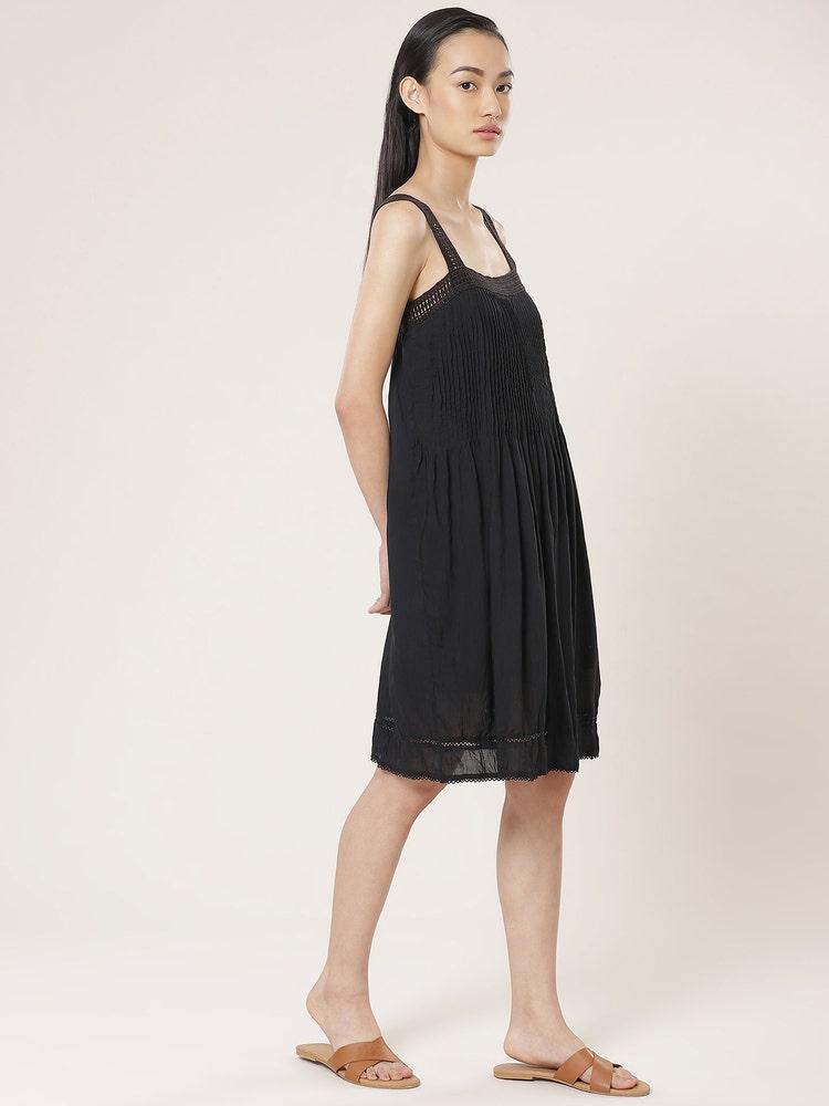 Black Pintuck Crushed Dress