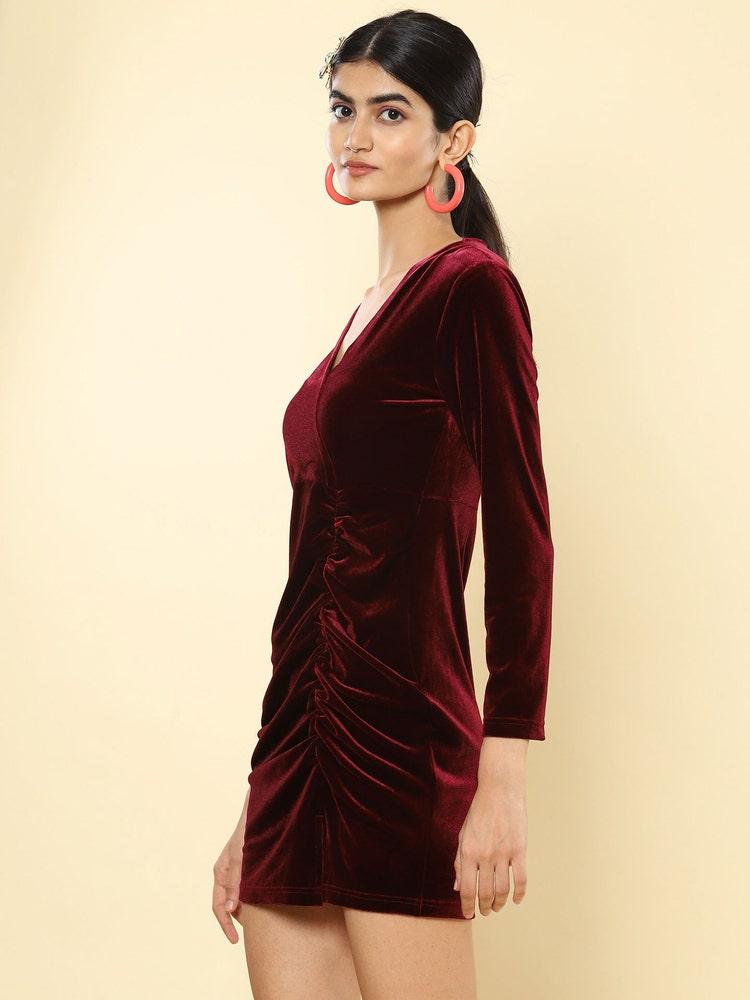 Wine Bodycon Velvet Short Dress