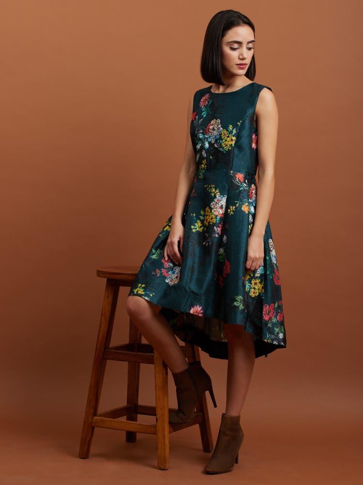 Bottle Green Floral Asymmetrical Dress