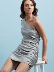 Silver Metallic One-Shoulder Dress