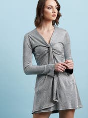 Silver Metallic Short Dress
