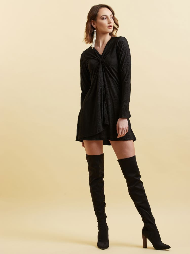 Black Metallic Short Dress
