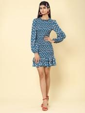 Blue Floral Print Smocked Short Dress