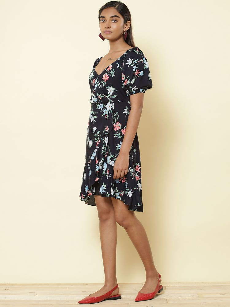 Navy Blue Floral Print Short Dress