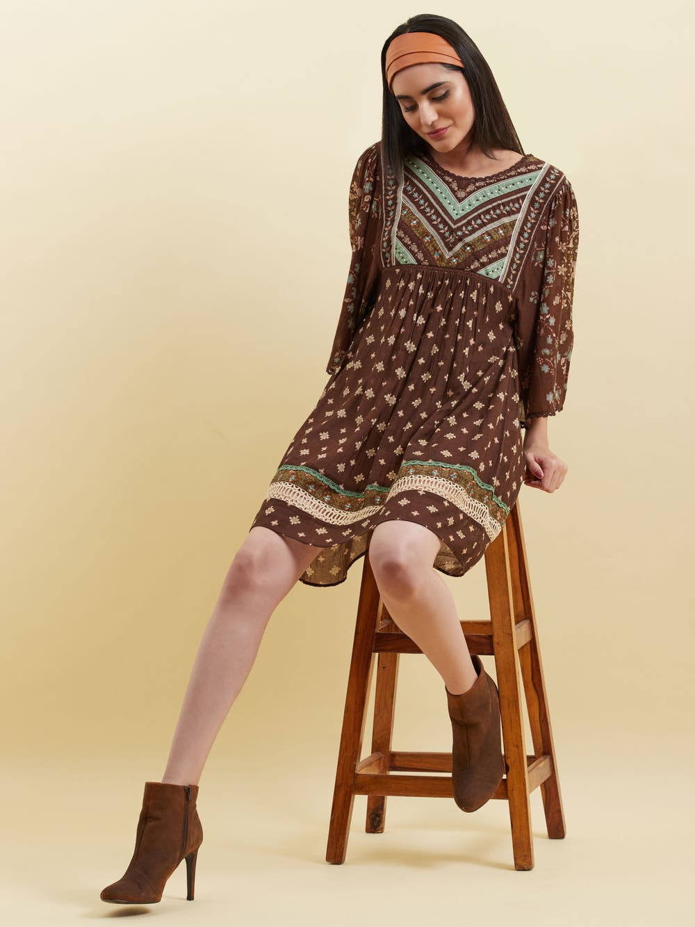Brown Geometric Print Short Dress