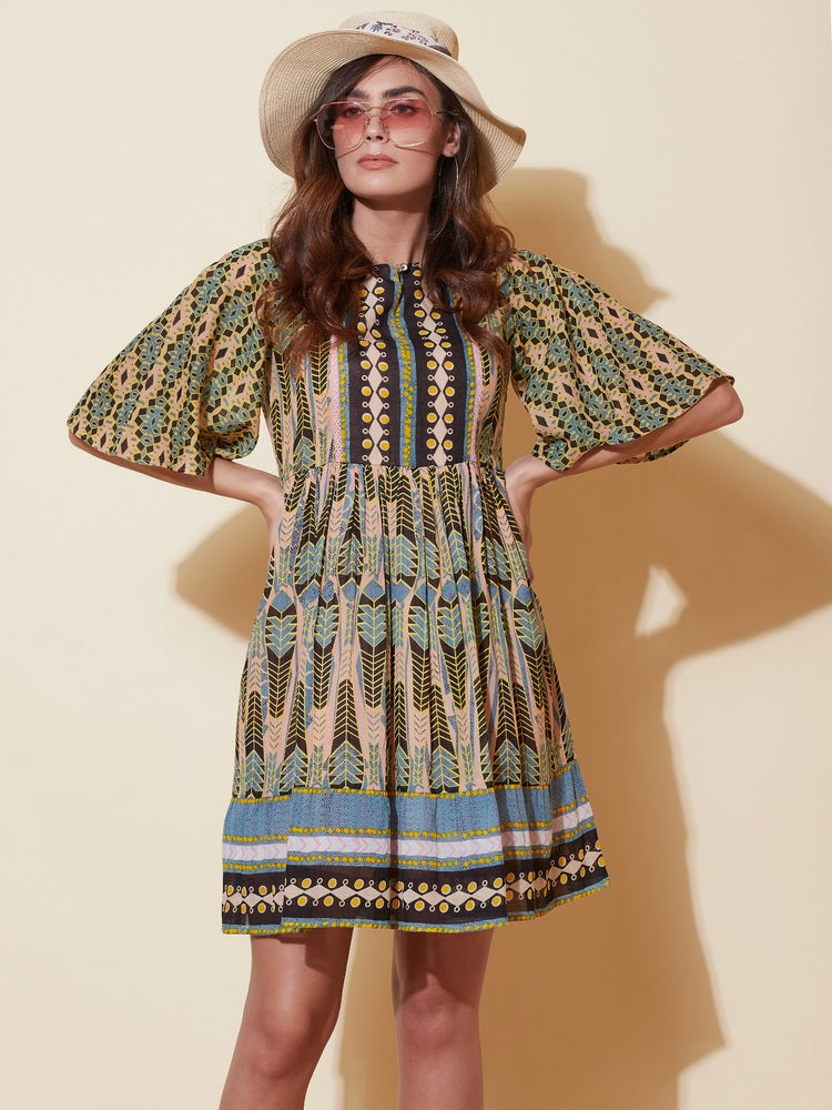 Multi Color Abstract Print Short Dress