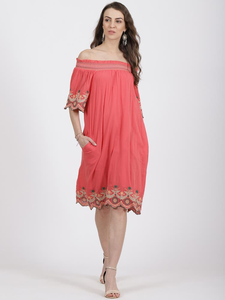 Coral Off Shoulder Embroidered Short Dress