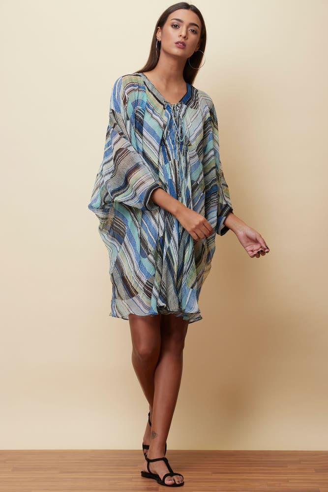 Blue Striped Short Dress