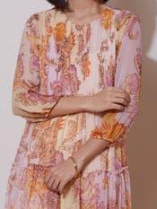 Lilac Floral Print Short Dress