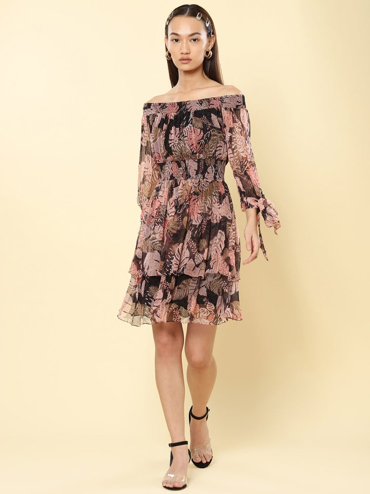 Black Tropical Print Off-The-Shoulder Short Dress