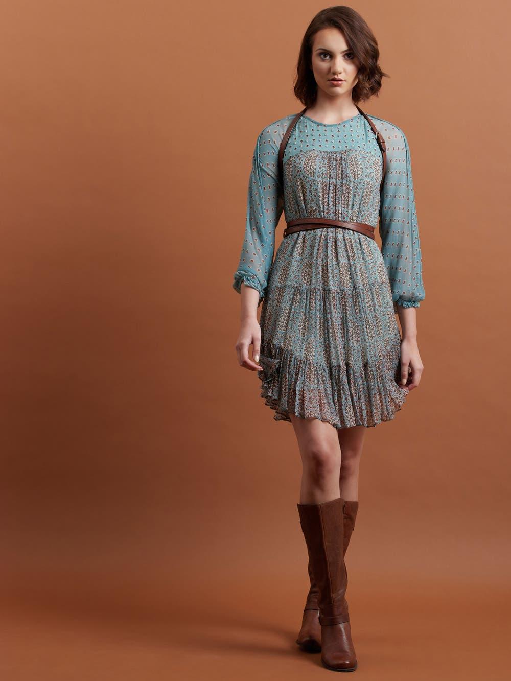 Blue Printed Short Dress