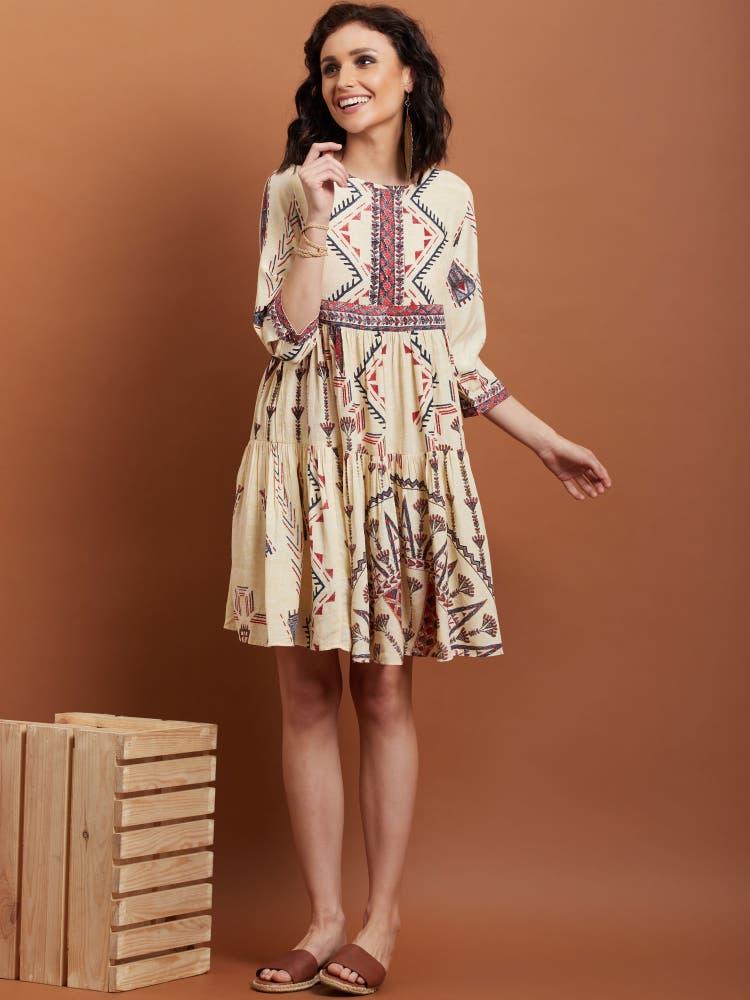 Tara Sutaria in an Ecru Abstract Print Short Dress