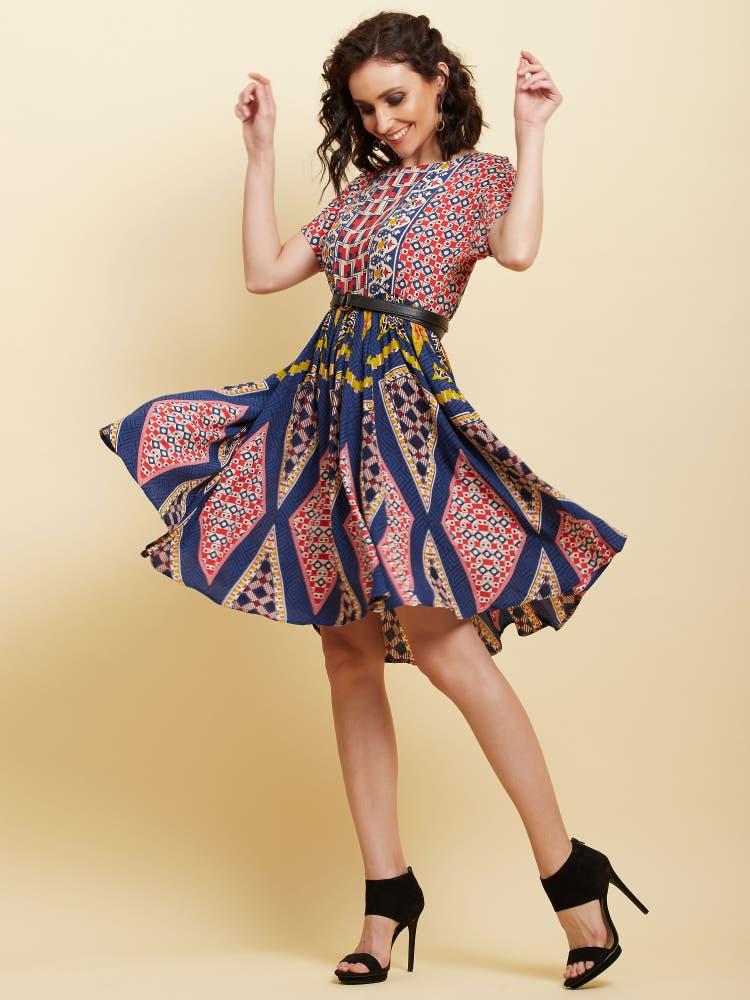 Red Geometric Print Short Dress