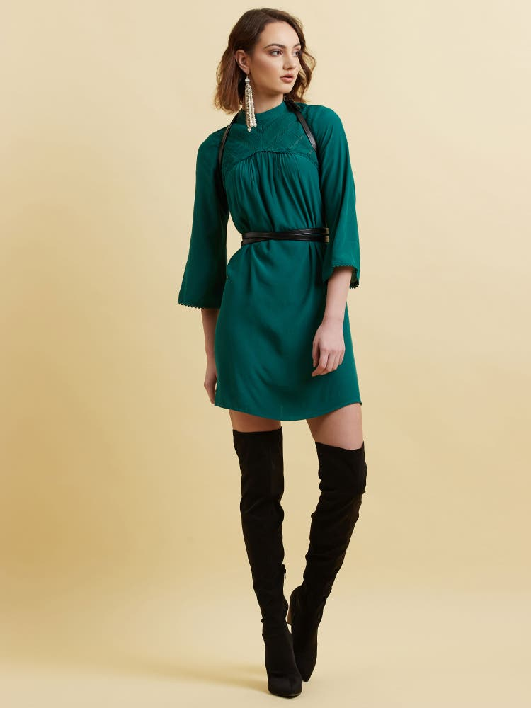 Teal Green Solid Short Dress