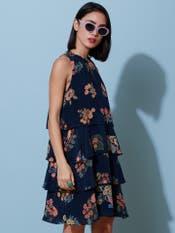 Navy Blue Tiered Short Dress