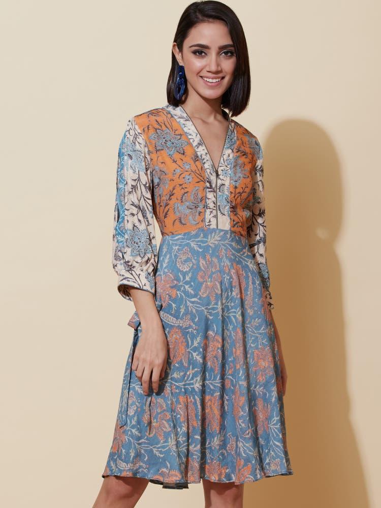 Multi Floral Print Short Dress
