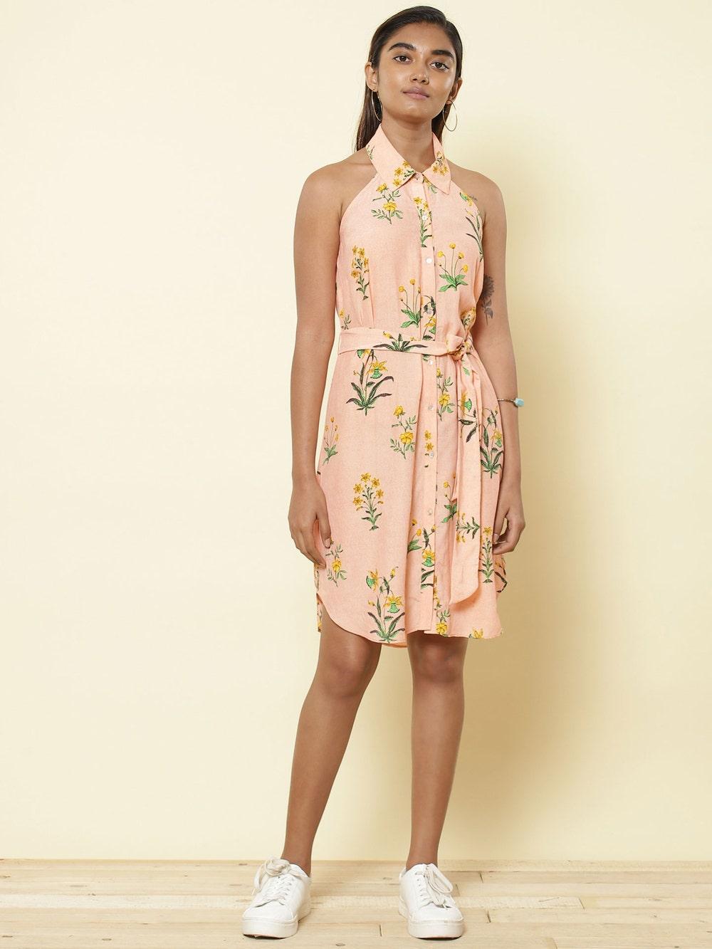 Pink Floral Print Shirt Dress