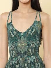 Emerald Green Floral Print Short Dress