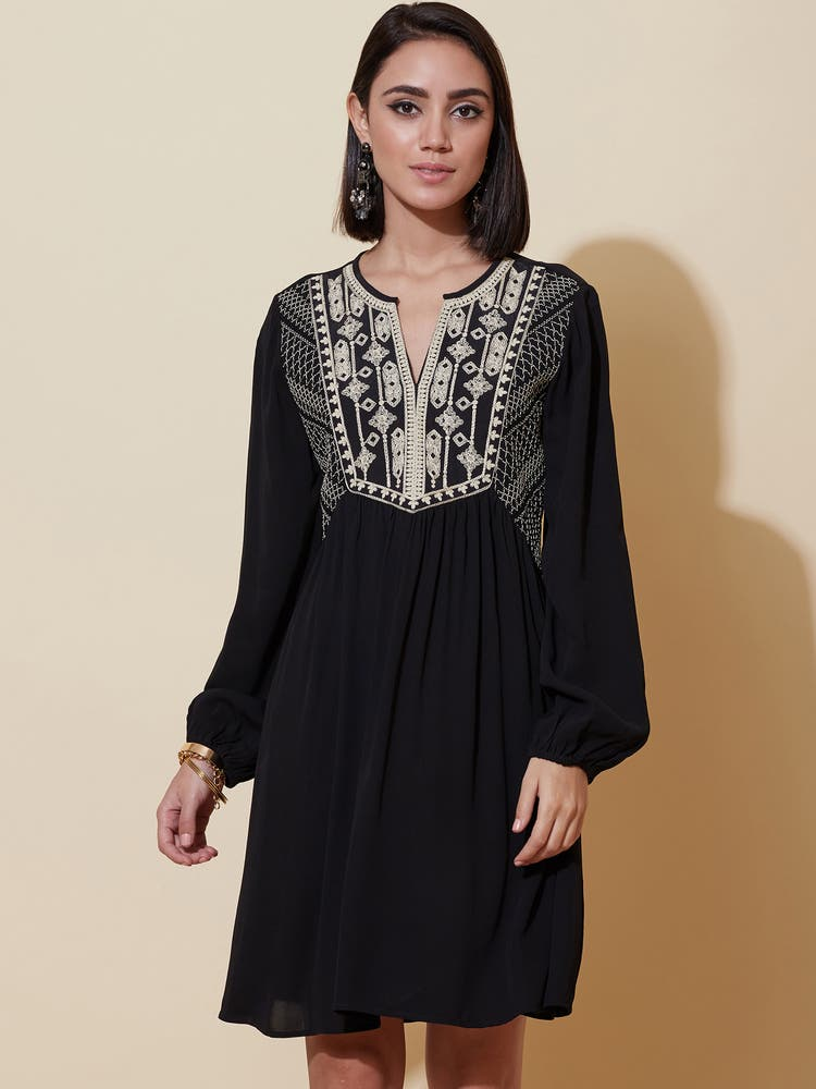 Black Embroidered Short Dress