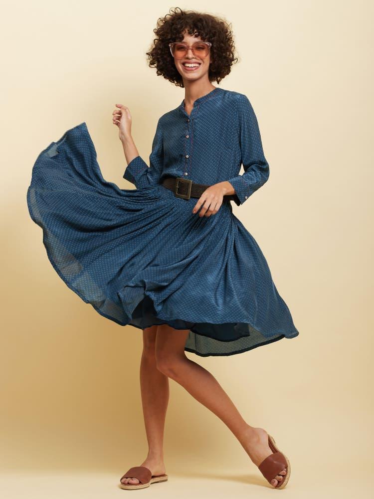 Blue Polka Skater Dress
