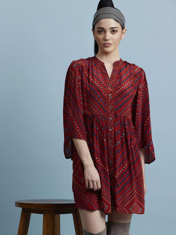 Red Geometric Printed Dress