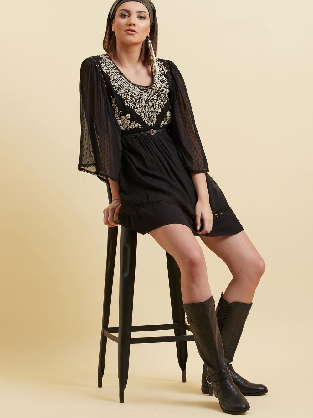 Black Kimono Sleeve Short Dress