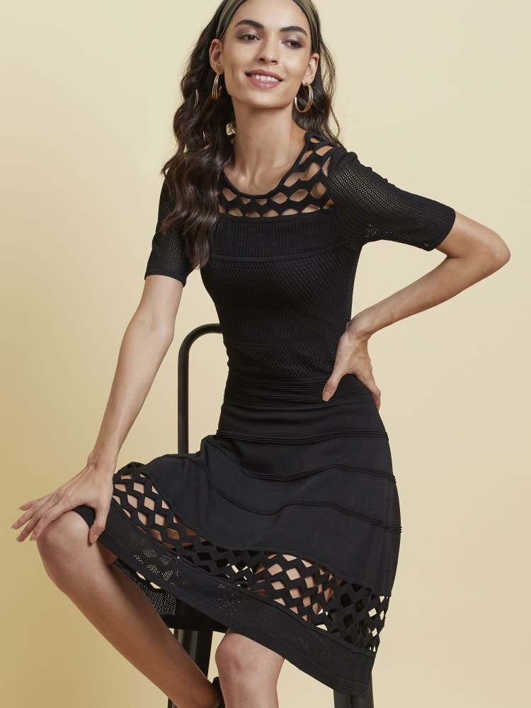 Black Textured Lace Dress