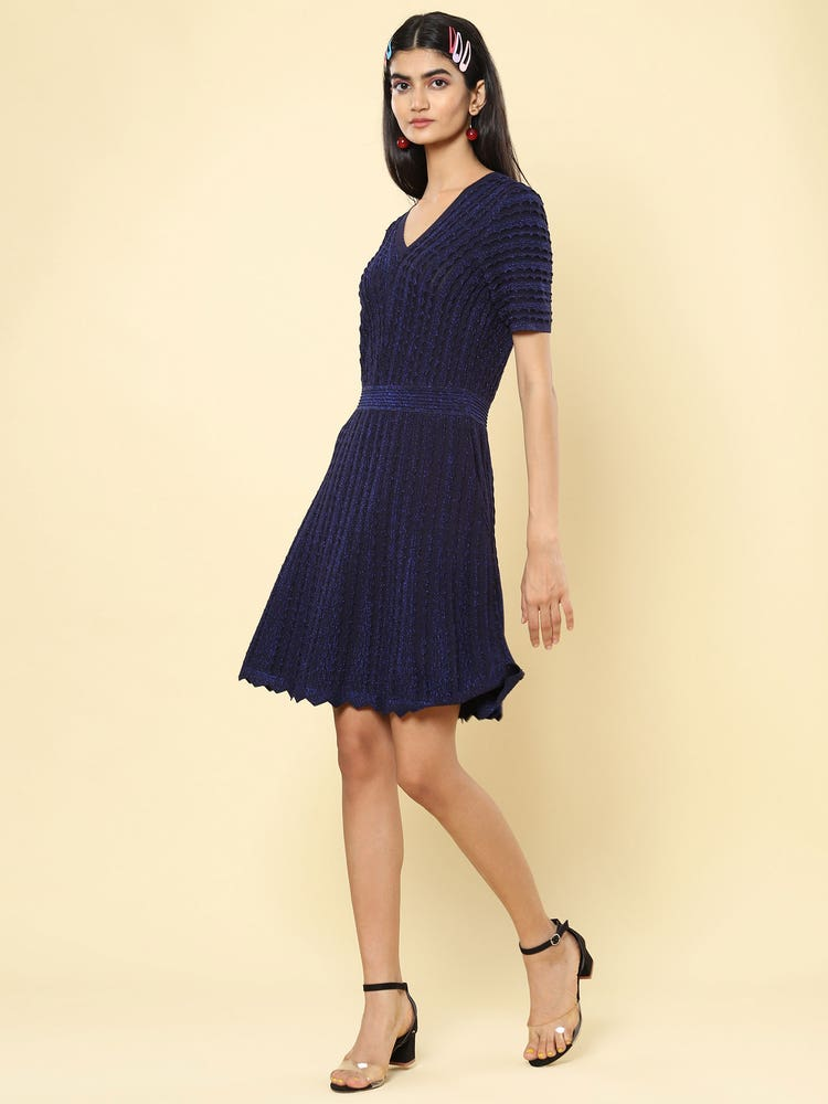 Navy Structured Short Dress