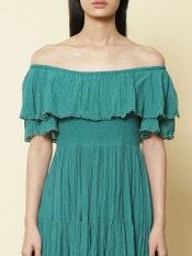 Teal Smocked Off Shoulder Short Dress