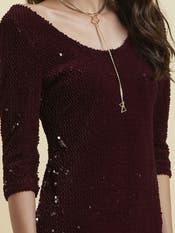 Burgundy Sequin Bodycon Dress