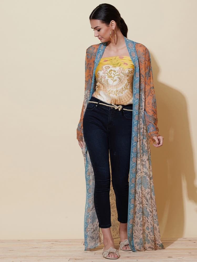 Multi-Coloured Floral Print Shrug
