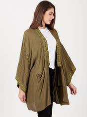 Olive Green & Gold Kaftan Style Shrug
