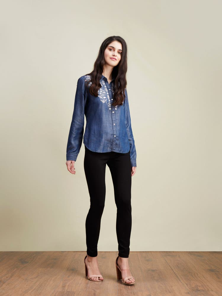 Blue Embroidered Tencil Shirt