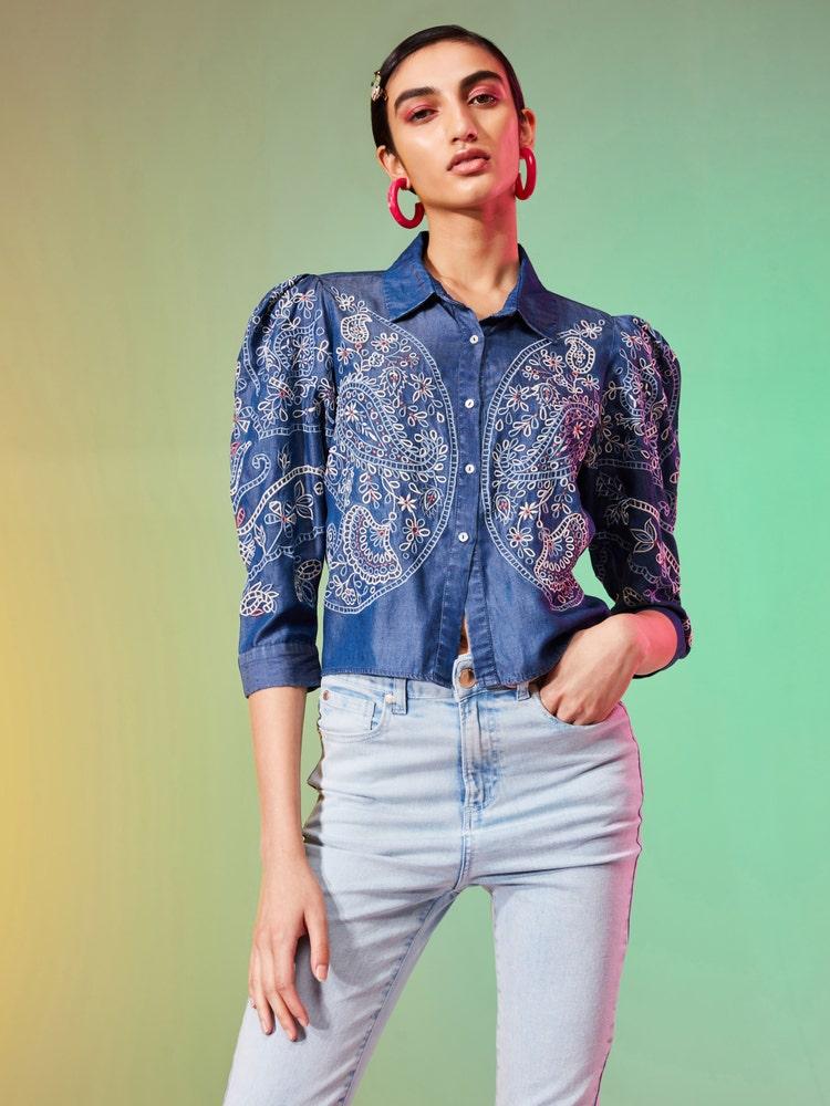 Blue Floral Embroidered Denim Shirt