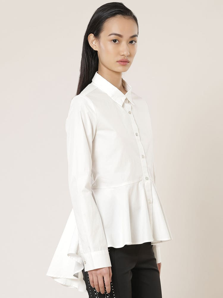 White Peplum Shirt