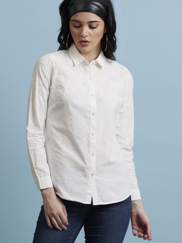 Kiara Advani in an Ecru Schiffly Shirt