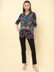 Blue Floral Print Shirt