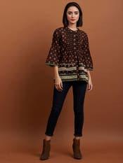 Brown Geometric Print Shirt