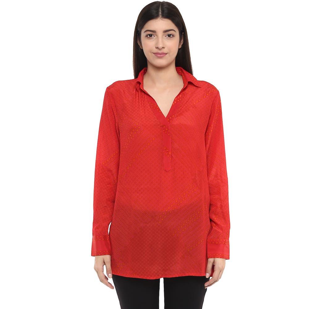 Red Sheer Button Down Shirt