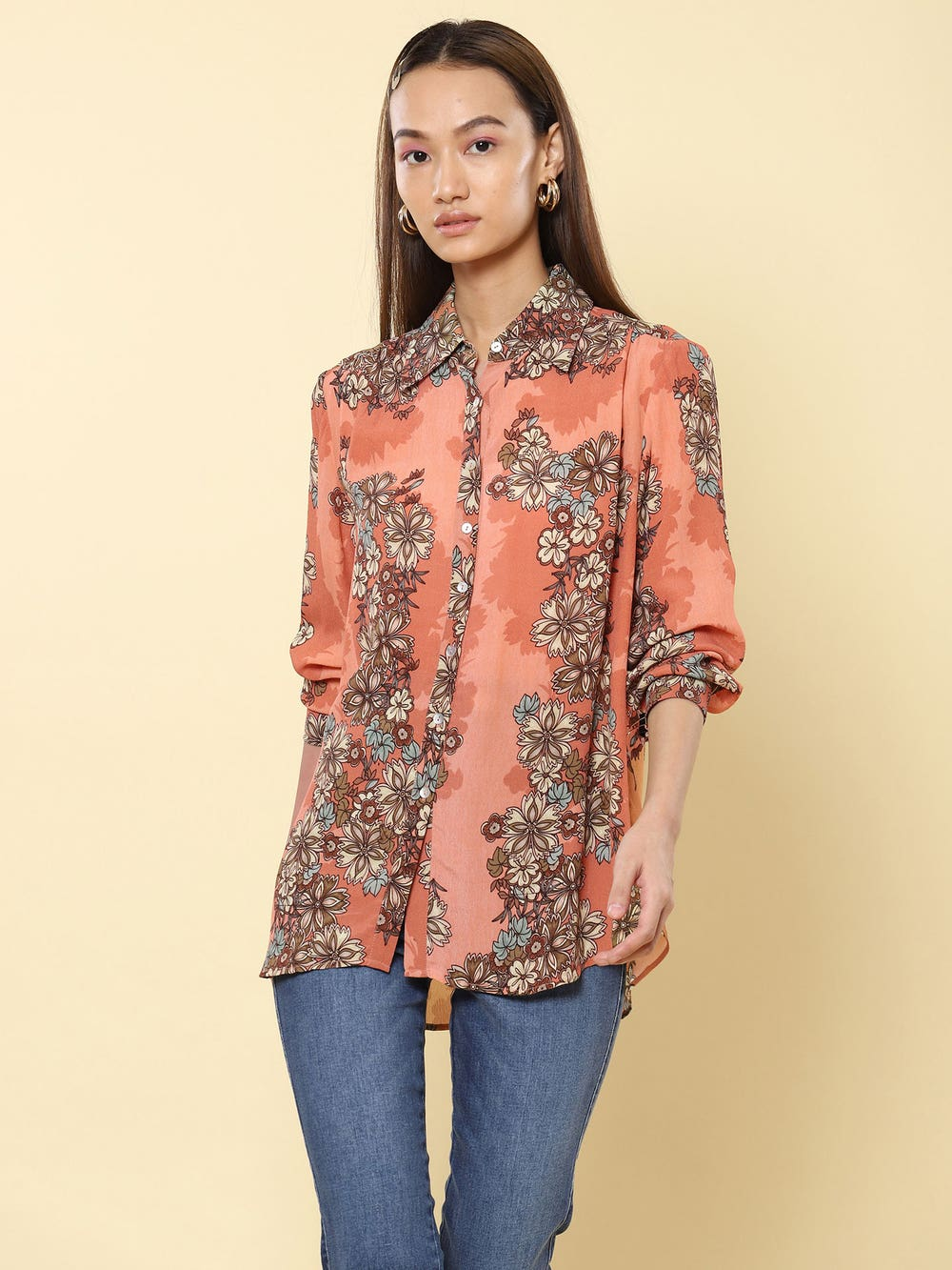 Rose Floral Print Shirt